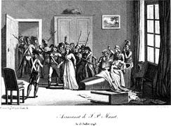 The assassination of Marat by Charlotte Corday on 13 July 1793