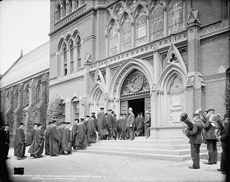 Seniors entering Sanders Theatre for Class Day exercises (late 19th or early 20th century)