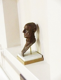 "Bronze bust and memorial plaque of Hordern in ""The Hordern Room"" at Brighton College"