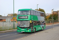 A CNG powered Scania N280UD, with Enviro 400 City bodywork. This shows the new livery style.