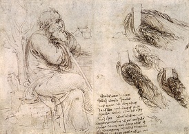 Leonardo da Vinci c. 1513 Old Man with water studies. In the Royal Library, Windsor. Thought to be a self-portrait, showing Leonardo's writing and drawing.