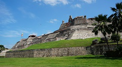 Castillo San Felipe de Barajas, Colombia. Cartagena's colonial walled city and fortress were designated a UNESCO World Heritage Site.