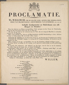 Proclamation of King William III of the Netherlands regarding his accession, 1849