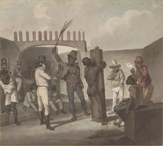 Punishing slaves at Calabouco, in Rio de Janeiro, c. 1822. Brazil in 1888 was the last nation in the Western Hemisphere to abolish slavery.
