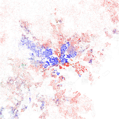 Map of racial distribution in Baltimore, 2010 U.S. Census. Each dot is 25 people: White, Black, Asian Hispanic, or Other (yellow)