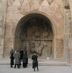Sasanian rock reliefs at Taq Bostan, in the heart of the Zagros Mountains