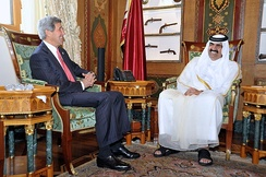 Former Emir Hamad bin Khalifa Al Thani and U.S. Secretary of State John Kerry in 2013.