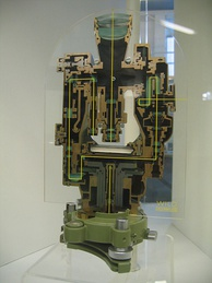 Sectioned Wild theodolite showing the complex light paths for optical readout, and the enclosed construction