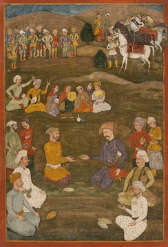 The Mughal ambassador Khan'Alam in 1618 negotiating with Shah Abbas the Great of Iran.