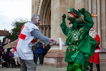 St. George slays the dragon, in a 2015 Boxing Day production, by the St Albans Mummers.
