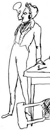Caricature of Max Stirner taken from a sketch by Friedrich Engels (1820–1895) of the meetings of Die Freien