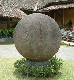A stone sphere created by the Diquis culture at the National Museum of Costa Rica. The sphere is the icon of the country's cultural identity.