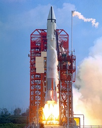 An Atlas-Centaur rocket launches Surveyor 1