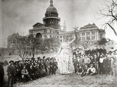 Statue of the Goddess of Liberty on the Texas State Capitol grounds prior to installation on top of the rotunda