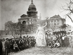 Statue of the Goddess of Liberty on the capitol grounds prior to installation on top of the rotunda as construction is completed, 1888