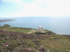 South Stack reserve, Anglesey, with Ellin's Tower, housing a visitor centre