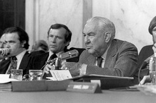 Sam Ervin (right) chairing the Senate Watergate hearings, 1973