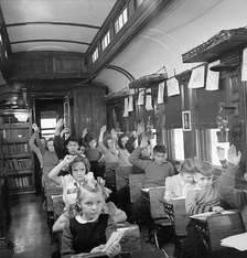 1950 Canadian School Train. Pupils attend classes at Nemegos near Chapleau, Ontario.