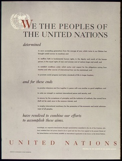 World War II poster from the United States on the UNITED NATIONS – PREAMBLE TO THE CHARTER OF THE UNITED NATIONS