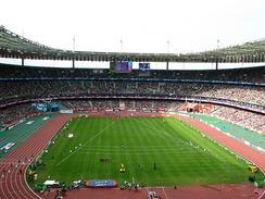 Stade de France with uncovered athletics track during the 2003 World Championships