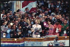 President Bill Clinton, Hillary Clinton, Vice President Al Gore, Senator Paul Simon and others on stage celebrating the renomination of Bill Clinton as the Democratic Party candidate for president