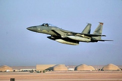 A 363d Air Expeditionary Wing F-15 Eagle takes off at Prince Sultan Air Base, Saudi Arabia, during Operation Southern Watch