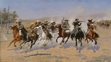 A Dash for the Timber, 1889, depicts cowboys in the Southwest shooting at Apaches in the rear. One of the eight riders is already wounded but remains on his horse.