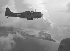 A VB-5 SBD from Yorktown over Wake, early October 1943