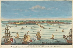 A South-East View of the City of Boston in North America, printed at London, c. 1730