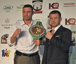 Klitschko and Adamek, during signing for the fight in 2011