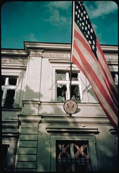 American embassy in Warsaw during the German air raid in September 1939. Visible shattered window.