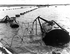 An example of an anti-submarine net, once protecting Halifax Harbour, Canada.