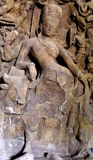 In Shakta theology, the feminine and masculine are interdependent realities, represented with Ardhanarishvara icon. Left: A 5th century art work representing this idea at the Elephanta Caves; Right: a painting of Ardhanarishvara.