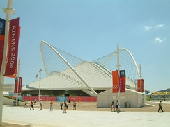 The Athens Olympic Velodrome, designed by Santiago Calatrava, during the 2004 Olympic Games