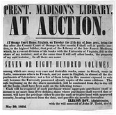 Auction of books of James Madison's library, Orange County, Virginia, 1854