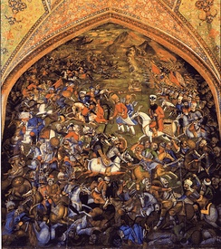 Selim I at the Battle of Chaldiran: artwork at the Chehel Sotoun Pavilion in Isfahan