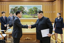Kim Jong-un and his sister Kim Yo-jong (right) in March 2018