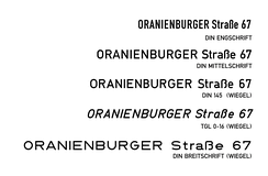 Samples of various versions of lettering of DIN and related styles in digital format, mostly by Peter Wiegel