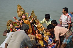 Durga image is immersed into river on Vijayadashami in eastern regions of the Indian subcontinent.