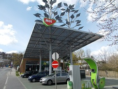 MOL Group solar powered filling station in Budapest. It is the second most valuable company in Central and Eastern Europe