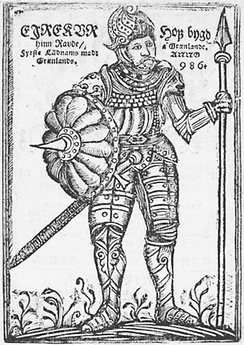 16th century Icelandic man-at-arms. Picture is to depict Eiríkr Rauði, who is equipped somewhat anachronistically, from the 17th century book Groenlandia by Arngrímur Jónsson.