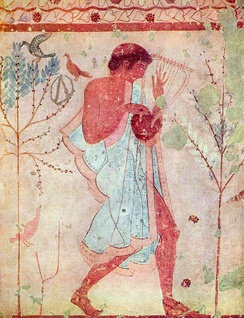 An Etruscan musician, fresco from the Tomb of the Triclinium, near Tarquinii, c. 470 BC