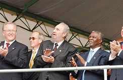Fidel Castro with South African president Thabo Mbeki and the Swedish prime minister Göran Persson, 2005