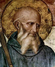 "Benedict of Nursia (c. 480-543), who wrote the leading religious rule for monastic living, ""evokes the Christian roots of Europe"", said Pope Benedict XVI."