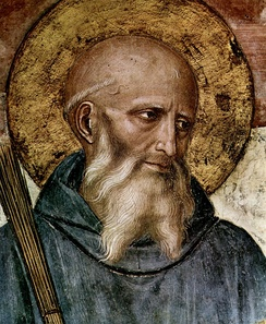 Saint Benedict of Nursia (c. 480–543). Detail from a fresco by Fra Angelico (c. 1400–1455) in the Friary of San Marco Florence.
