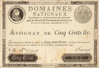 Early Assignat of 29 September 1790: 500 livres