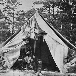General Wright in front of his tent.
