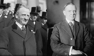 Sen. Carter Glass (D–Va.) and Rep. Henry B. Steagall (D–Ala.-3), the co-sponsors of the Glass–Steagall Act.