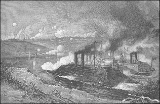 Union ironclad river gunboats assault the Confederates at Fort Donelson, February, 1862.