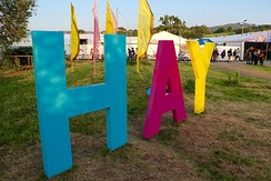 Sign at the entrance to the 2016 Hay Festival.